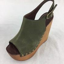 Jeffrey Campbell Snik Stud Green Leather Wedge Ladies Size 7.5m Photo