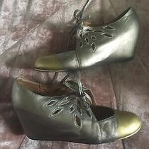 Jeffrey Campbell So Smart Pewter Wedge Heel Shoes Mary Jane Tie Pump 7m Photo
