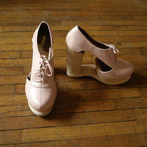 Jeffrey Campbell Soft Natural Pink Benched Avant Garde Rare Architectural Heel 6 Photo