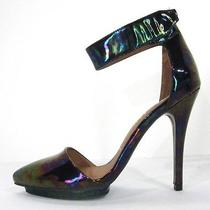 Jeffrey Campbell Solitaire Ankle Strap Pumps Oil Iridescent Patent Leather 7.5 Photo