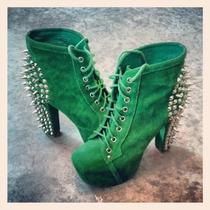 Jeffrey Campbell Spiked Litas Green Suede Size 8  Photo