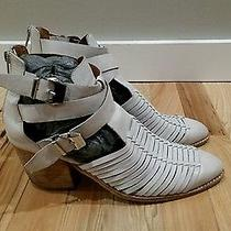 Jeffrey Campbell Stillwell White Leather Fisherman Ankle Boots Booties Women 9.5 Photo
