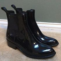 Jeffrey Campbell Stormy Rain Boots Chelsea Bootie Glossy Black w's 9 (Fits 8) Photo