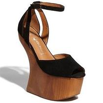 Jeffrey Campbell Str8 Up Black Suede Wood Wedge 9.5 Platform Chic Heel Photo