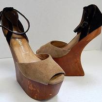 Jeffrey Campbell Str8up 7m Beige Black Suede Leather Wood Platform Heels Photo
