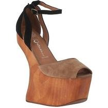Jeffrey Campbell Str8up Platform Cutout 4 In. High Heel Tan/black Suede Size 7.5 Photo