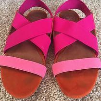 Jeffrey Campbell Strap Sandals Flat Women's Size 7 Pink Orange Magenta Photo