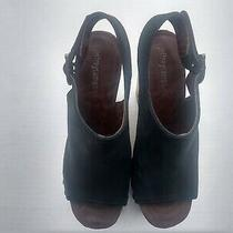 Jeffrey Campbell Stud Platform Wedge Sandals Sz 6 M Green/ Black Leather & Wood Photo