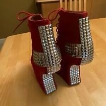Jeffrey Campbell Studded Burgundy Sueded Leather Holy Cross Boot Shoe Sz 7m Photo