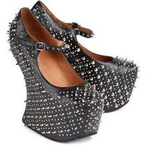 Jeffrey Campbell Studded Wedge Pumps Size 8 Black Grunge Shoes Photo