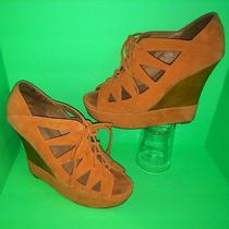 Jeffrey Campbell Suede Leather Harlow Lace Cutout Peep Wedge Bootie Sandals 8 M Photo