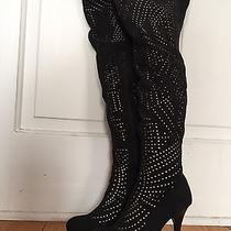 Jeffrey Campbell Sz 7 Black Cut Out  Heel Thigh High Over the Knee 'Issue' Boots Photo
