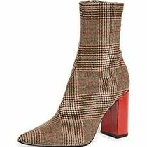 Jeffrey Campbell Sz 9 Siren Block Heel Plaid Pointed Toe Ankle Boot  Photo