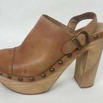 Jeffrey Campbell Sz 9m Charli-C Woodies Platform Heels Leather Clogs Closed Toe Photo