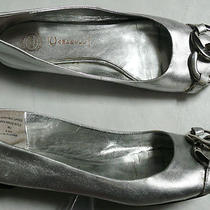 Jeffrey Campbell Tahiti Last Mj Sz 6.5 M Silver Toned Leather Ballet Flats  Photo