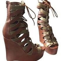 Jeffrey Campbell Tan Khaki Leather Wedges Photo
