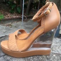 Jeffrey Campbell Tan Lucite High Wedge Open Toe Braided Strap Sandals 40 10 Photo