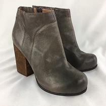 Jeffrey Campbell Taupe Leather Chunky Heel Bootie Size 9  C7137 Photo