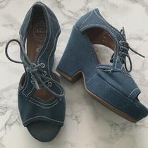 Jeffrey Campbell Teal Canvas Lace Up Platform Sandals Open Toe Womens Size 6.5 Photo