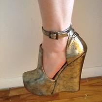 Jeffrey Campbell Thelma Platform Wedge Heels Bronze Size 7.5 Photo