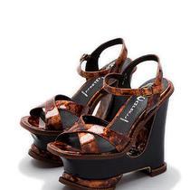 Jeffrey Campbell Tortoise Brown Hare 2 Mod Platform Sandal Wedge Heel Size 9 Photo