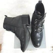 Jeffrey Campbell Triple Buckle Black Leather Boots Sz 6.5 Grunge Moto Riding  Photo