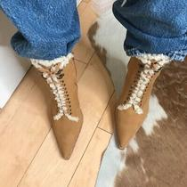 Jeffrey Campbell Truckstop Bootie Suede Shearling Booties Heels Size 10 Photo