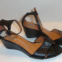 Jeffrey Campbell Trudeau Black Leather Wedge Sandal 8.5 Heel Sandals  Photo