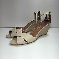 Jeffrey Campbell Trudeau Sandals Size 10 Wedge Leather Ivory Beige Photo