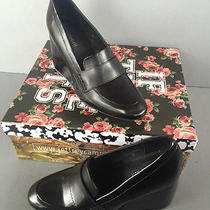 Jeffrey Campbell Truman Leather Wedge Size 7 Black New in Box  Photo