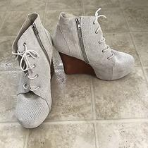 Jeffrey Campbell Two-Timer 9.5 White Suede Lace Up Wedge Platform Booties Photo