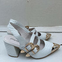 Jeffrey Campbell Walter Leather Slingback Pump Size 8 White/rose Gold Photo