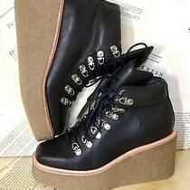 Jeffrey Campbell Wedge Ankle Boot Waterproof Leather Crepe Platform Black 7 New Photo