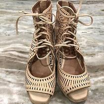 Jeffrey Campbell Wedge Heels 9 Rodillo Tan Cutout Lace Up Open Toe Sandals Photo
