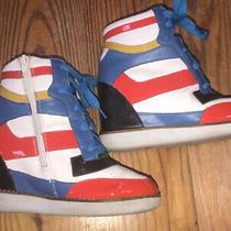 Jeffrey Campbell Wedge Sneaker Sz 6 Rainbow High Top Zip Side Lace Up I Heart U Photo