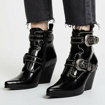 Jeffrey Campbell Welton Buckle Leather Booties Black Size 9 Photo