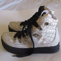 Jeffrey Campbell White Leather Snake Print Sneakers Women's Sz 7.5 M Photo