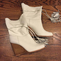 Jeffrey Campbell - White Leather Wood Wedge Boots Asos Nasty Gal - 8 Nwob Photo