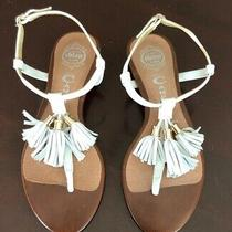 Jeffrey Campbell White Tassel T Strap Leather Sandals Women's Sz 8 Excellent Photo