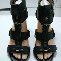 Jeffrey Campbell Wm Sz 8 Black Leather Ankle Strappy Gladiator Wedge Sandals Photo