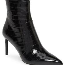 Jeffrey Campbell Women Pointy Toe Bootie Khalees Size 9.5 Black Snake Embossed Photo