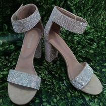 Jeffrey Campbell Women's Ankle-Strap Heel Sandal Size 7 Nude Suede/rhinestone Photo