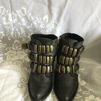 Jeffrey Campbell Womens Black Leather Buckle Booties Shoes Size 8 Us Photo