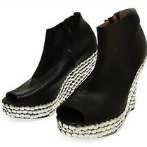 Jeffrey Campbell Women's Black Leather Wedge Pep Toe Silver Nail Bootie 10 Tick Photo