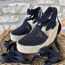 Jeffrey Campbell Women's Black 'Libra' Espadrille Lace-Up Wedge Sandals Sz 9.5 M Photo