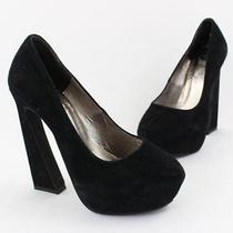 Jeffrey Campbell Women's Black Suede High Heel Hidden Platform Pump Shoe 5.5 Photo