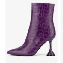 Jeffrey Campbell Women's Entity-2l Trumpet Heel Ankle Purple Croc Bootie Size 8 Photo