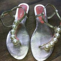 Jeffrey Campbell Women's Gold Flat Sandals With Big Pearls Rare Unique Sz 6 Photo