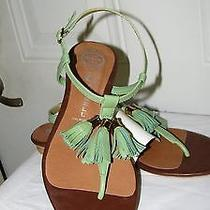 Jeffrey Campbell Women's Green Tassel Sandals Shoes Ankle T Strap Thongs Size 8 Photo