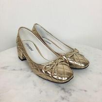 Jeffrey Campbell Womens Itsie Pump Nwob Quilted Gold Metallic Sz 6 Block Heel Photo